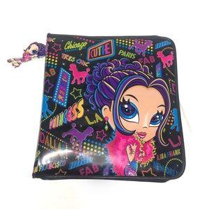 Lisa frank Glamour Girl puffy 3 ring Zipper binder